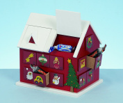 WOODEN CHRISTMAS FESTIVE HOUSE XMAS ADVENT CALENDAR 20CM TALL