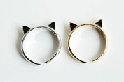 Brass Jewellery Bohemian Fun Funny Cute Unique Beautiful Bff Best Friend Wedding Party Animal Cat Ear Pinky Knuckle Finger Toe Wrap Around Adjustable Expendable Stretch Band Ring