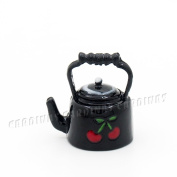 Odoria 1:12 Miniature Cherry Teapot Kettle with Lid Dollhouse Kitchen Accessories