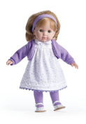 JC Toys Blonde Toddler Doll, 36cm Soft Body Doll Dressed in Pretty Purple Flower Dress. Open and close eyes. Designed by BERENGUER for Children 3+.