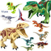 JZK 2 Big tyrannosaurus dinosaur & 8 small toy dinosaur blocks movable mini figures toys for kids party favours party bag fillers