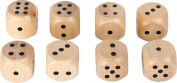 Small Foot 10530 Wooden Dice in A Set of 8, Classic, Natural Dice for every Dice Game