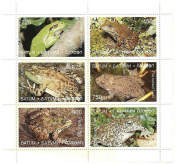 Frog stamps 6 values in a mint never hinged stamp sheet from Batumi