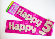 Happy 5th Birthday Banner Age Girl Pink Holographic Wall Kids Party Decorations