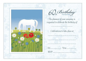 White Horse 60th Birthday Party Invitations With Blue Envelopes - Pack of 20 - By Artstore