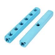 Unique Bargains 2 Pcs 1/4BSP Thread 6 Ways Air Pneumatic Aluminium Manifold Block Splitters