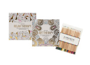 Invero® Set of 2 Anti-Stress Adult Relaxing Art Therapy Colouring Books with 120 Designs Per Book - Also Includes 20 Pack of Premium Colouring Pencils
