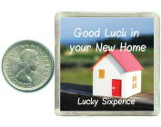 New Home Lucky Sixpence. Good luck charm gift for moving house, great present idea for friends, relatives