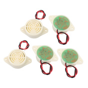 5 Pcs DC 3-24V 12V 2-Wired Intermittent Active Electronic Buzzer Alarm Off-White