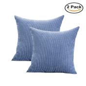 Pinji 2PCS Corduroy Pillow Cover Throw Pillowcase Cushion Home Office Sofa Chair Decor Denim Blue 55x55cm/22x22inch