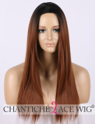 Chantiche Long Black Rooted Ombre Brown Wig Black Rooted Soft Hair Synthetic Straight Wigs for Women Machine Made Heat Resistant 41cm