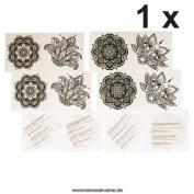 1 x 4piece Mandala Tattoo Set - 4 different Mandala Tattoos