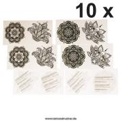 10 x 4piece Mandala Tattoo Set - 4 different Mandala Tattoos