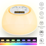 Natural Sleep Aid Wake-Up Light Sunrise Alarm Clock, White Noise Bedside Lamp with Smart Snooze Function 4 Alarm Music RGB Colours Night Light, Spa Yoga Relaxation Sound Sleep Therapy for Baby Adult Office Travel and Gifts