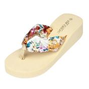 Dragon868 Fashion Women Beach Sandals, Floral Bohemia Wedge Platform Thongs Slippers Flip Flops