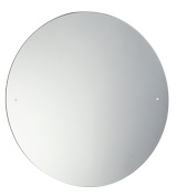 60cm Diameter Cicular Round Bathroom Mirror Glass with Pre Drilled Holes & Chrome Cap Wall Hanging Fixing Kit Hardware