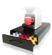 Nespresso Capsule Holder | 60pcs | CAFE CONCETTO | Coffee Machine Stand & Pod Storage Drawer Organiser | Nespresso Capsules and Nespresso Compatable Pods | Anti-Vibration Design