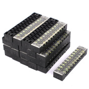 20 Pcs 600V 15A 10P Dual Row Electric Barrier Terminal Block Wire Connector Bar