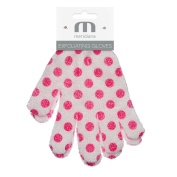 Meridiana Exfoliating Gloves, White with Pink Polka Dots