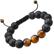 "Natural Lava Stone Bead Wrist Bracelet-CheersLife Healing Energy Chakras Yoga Meditation Balance for Men Women 12mm Stones Onyx Agate Handmade Braided Mala 8"" Essential Oil Diffuser Jewellery ¡­"