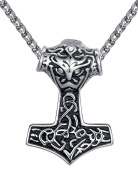 Aoiy Men's Stainless Steel Viking Thor's Hammer Celtic Knot Pendant Necklace, 61cm Link Chain, aap170