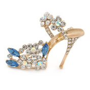 Clear/ Blue Crystal Sexy High Heel Shoe Brooch In Gold Plated Metal - 45mm