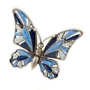 Brooch Butterfly blue Enamel hand painted