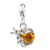 InCollections Sterling Silver Ladybird Charm with Amber Stone