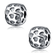 2PCS Clip Stopper Charms Genuine 925 Sterling Silver Antique Lock Clip Beads For European Charm Bracelet