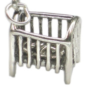 Cot with a baby sterling silver charm .925 x 1 Newborn babies charms SSLP3817