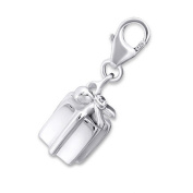 Gift Box Shaped Charm with Clip On Clasp - 925 Sterling Silver - With One Crystal Stone - Size