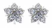 Clip On Earrings - Silver Plated Star With Clear Rhinestone Crystals - Hattie by Bello London