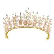 HerZii Bridal Faux Pearls Gold Leaves Tiara Crystal Women's Wedding Hair Jewellery Pageant