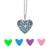 Purposefull Silver Plated Heart Shaped Locket Essential Oils Necklace WITH FREE velvet gift bag - Essential Oil Diffuser Necklace
