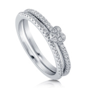 BERRICLE Rhodium Plated Sterling Silver Cubic Zirconia CZ Heart Promise Stackable Ring Set