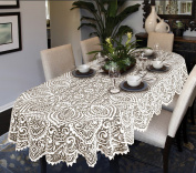 """Lace Large Tablecloth Oval OR Round White OR Beige Premium Quality (63"""""""
