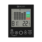 DIGOO DG-TH2048 Indoor Thermometer, Weather Station Temperature Monitor Moisture Hygrometer Touch Screen House Digital Black Weather Station
