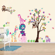 Walplus Wall Stickers Happy Animals Removable Self-Adhesive Mural Art Decals Vinyl Home Decoration DIY Living Bedroom Office Décor Wallpaper Kids Room Gift, Multi-colour