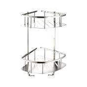 Foccoe Bathroom Corner Shower Shelf Shelves, Corner Basket Two-Tier Rack Stainless Steel Corner Shelf Shower Organiser Wall Mounted