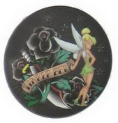Disney Fairies Tinker Bell Black Roses Button