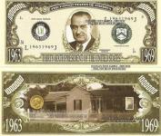 Novelty Dollar 36th President Lyndon B Johnson Dollar Bills X 4