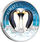 ALWAYS TOGETHER Penguins Silver Coin 50 Cents Tuvalu 2018