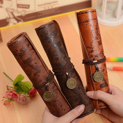 Nikgic Vintage Pirate Treasure Map Pencil Case Roll Up PU Leather Pen Pencil Case bag Cosmetic Pouch