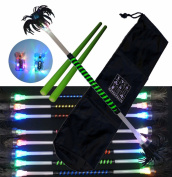 """Day and night"""" Flower stick (glow) kit, ribbon decoration Fluorescent Green With a pair of control sticks in silicon and wood comes with a nylon drawstring bag for storage and travel."""