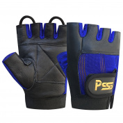 WEIGHT LIFTING PADDED BODY BUILDING WHEEL CHAIR TRAINING GYM LEATHER GLOVES BLACK/BLUE LARGE