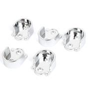 Unique Bargains Metal 25mm Dia Clothes Closet Rod Flange Holder Bracket Silver Tone 5pcs