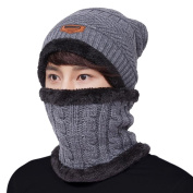 LvLoFit Winter Thermal Knitted Heanie Hat and Circle Scarf Set for Women/Men Warm Snood Suit for Indoors and Outdoor Sports