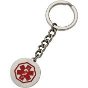 Primal Steel Stainless Steel Polished Red Paint Inlay Medical Key Chain
