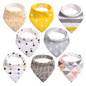 Baby Dribble Bibs Bandana for Girls Boys Unisex Set Cotton Gift Pack for Teething Fit Newborn Toddlers Soft Absorbent with Adjustable Snap Closure Stylish Pattern (Pack of 8) by CITÉTOILE