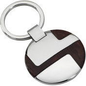 Primal Steel Stainless Steel Polished Wood Inlay Key Chain